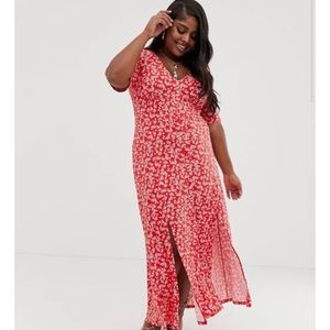 ASOS Red Floral 90s Inspired Maxi Dress